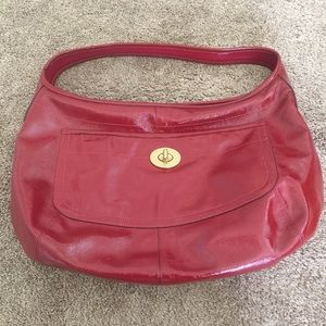 Coach cherry red patent leather shoulder bag